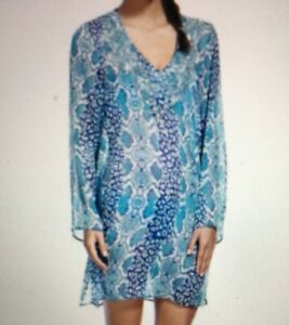 M&S Collection  Blue Faux Snakeskin Sequin Kaftan Beach Cover Up UK 10-12