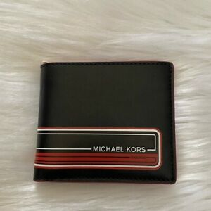 NEW wTag-MICHAEL KORS Kent Crimson Red/Black Leather Billfold Wallet