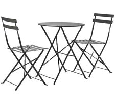 Folding Set of Table & 2 Chairs Garden Patio Classic Metal Bistro Parisian Style