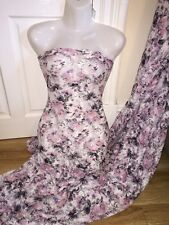 """1 MTR WHITE/GREY/PINK FLORAL PRINT LACE NET LYCRA STRETCH FABRIC..60"""" WIDE £4.99"""