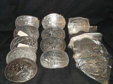 Vintage Hesston collection of 13 National Finals Rodeo belt buckles Los Vegas