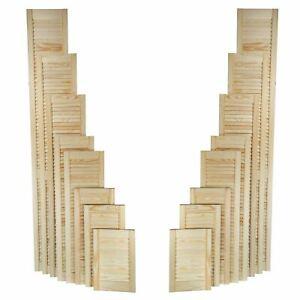 Natural Clear Pine Wood Door, Open Louvre Door, Cupboard Door, Wardrobe, Slatted