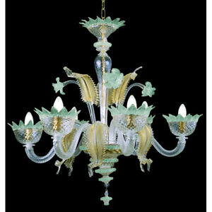 Muranese chandelier in Murano glass 6 lights crystal light blue and gold