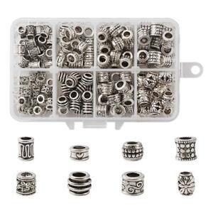 190pcs/Box Tibetan Alloy European Beads Antique Silver Large Hole Charms 6~9.5mm