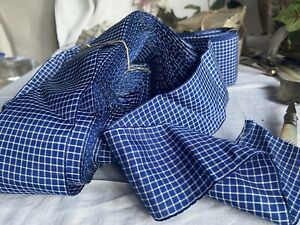 Vintage Ribbon Blue & White Check Tape French Home & Sewing/ Mid Century 2m