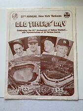 1973  NEW YORK YANKEES BASEBALL OLD TIMERS' DAY PROGRAM INSERT GIVEAWAY MLB RARE