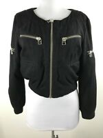 Womens Silvr Adidas Jacket Size XS Black Zipper Accents Cropped Bomber Wool
