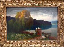 Hermann Rüdisühli 1864-1944: Park am See Öl Holz 50x75cm +20cm Handarbeitsrahmen