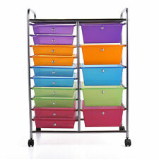 Rolling Storage Cart and Organizer w/15 Plastic Drawers Home Office Storage Bin