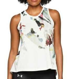 Underarmour Womens Run Tie-Back Vest Top In White Size Large UK 14-16. BNWT