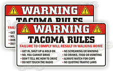 Tacoma Rules Warning Stickers Funny Safety Instructions Labels Decals Toyota 4x4