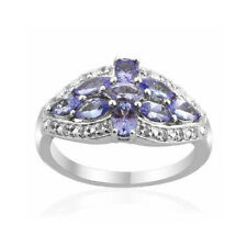Natural Tanzanite and White Topaz Cluster Ring Sterling Silver 14k White Gold