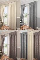 "Carlton Leaf Trail Fully Lined Woven Jacquard 3"" Tape Top Curtains/Drapes,"
