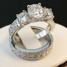 ENGAGEMENT WEDDING RING SET STERLING SILVER 3.06 TCW ROUND CUT CUBIC ZIRCONIA