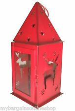 Red Christmas Metal Lantern Tealight Candle Holder With Hanging Ring