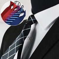 8x48cm Men Business Formal Party Pre-Tied Neckties Loafer Lazy Zipper Neck Tie