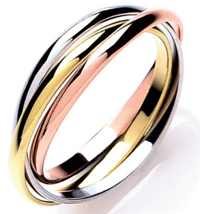 9ct Gold Russische Ehering 9 Karat Weiß Gelb Rose Gold Band Größe Q