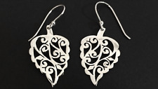 Genuine 925 Sterling Silver Teardrop Earrings Filigree Tear Drop Leaf Nature