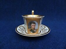 MEISSEN PORCELAIN  PORTRAIT CUP AND SAUCER WITH A NOBLE PERSONALITY EARLY 19th C