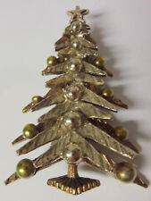 Vintage Signed ART Christmas Tree Silver Tone Pin Brooch
