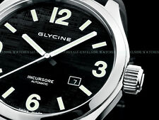 Rare New Glycine 44mm Swiss Made ETA 2824 Automatic Black Textured Dial SS Watch