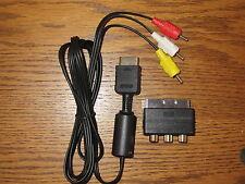 TV/AV Audio Video Chinch Kabel + Scart Adapter für Playstation 2 PS 2 PS 3 *NEU*
