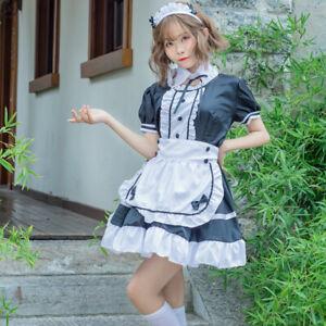 Women French Maid Fancy Dress Costume Outfit Waitress Uniform Plus Size Cos K1