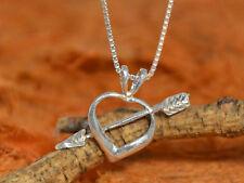 Heart & Arrow Necklace- Sterling Silver-Heart Pendant,Cupid Arrow,Love Necklace