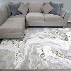 Marble Effect Carpet Rug Striking Gold Grey Subtile Shine Luxurious Textured Rug