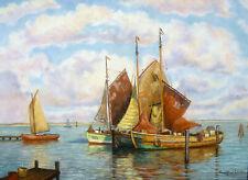 Paul Ernst Wilke 1894 Bremerhaven / Fischerboote vor Norderney / Gemälde, sign.