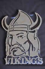 Viking Mascot  Scrolled Wooden Wall Hanging Amish Made  USA