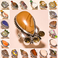 Wow !!! Free Shipping Natural Mix Lot 925 Silver Gemstone Jewelry Ring