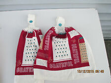 2 Hanging Kitchen Dish Towels with Crochet Tops Be Grateful Cheese Grater