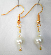 White 8mm glass pearl and clear glass bead Approx. 4cm drop
