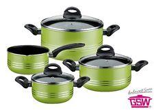 """Topfset Kochtopfset tInduktion """"Milano Color"""" grün 3 Töpfe+Stieltopf GSW 158053"""