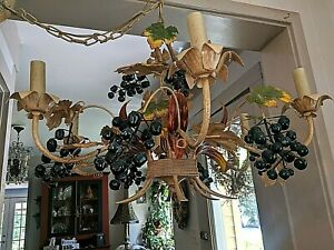 Gorgeous Vintage 6 Light Italian Tole Grape Leaf Mid Century Chandelier
