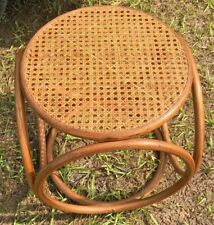 Michael Thonet Mid-Century Modern bentwood and cane stool, ottoman, side table
