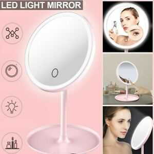 Magnifying LED Lighted Makeup Mirror Tabletop Cosmetic Vanity Mirror Pink/White