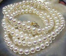 Long 25 Inches 7-8mm Natural White Akoya Cultured Pearl Hand Knotted Necklace