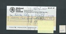wbc. - CHEQUE - CH1117- USED -1977 - MIDLAND BANK, DEDWORTH, WINDSOR.