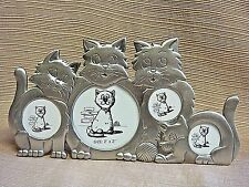 Adorable Pewter-Look 4 Cats Easel-Back Picture Frame