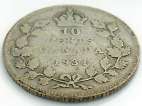 1934 Canada Ten 10 Cents Silver Dime Canadian Circulated George V Coin J970