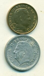 2 DIFFERENT COINS from MONACO - 1962 10 CENTIME and 1943 1 FRANC