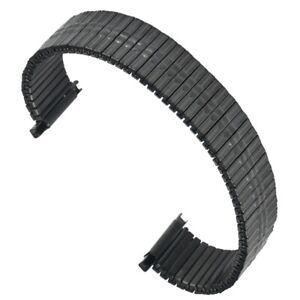 Black Elastic Watch Band for 16-22mm Metal Stainless Steel Bracelet Strap Belt