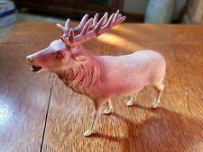 "Antqiue Christmas Celluloid Figure Elk Deer Reindeer Japan 6"" and 4"" tall Vtg"
