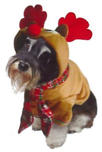 REINDEER CHRISTMAS DOG COSTUME 20cm XSMALL TO 45cm XX LARGE WITH ANTLERS, cotton