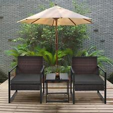 New 3Pcs Rattan Patio Furniture Set Rocking Sofa Chair Table W/Cushion Outdoor