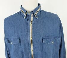 Wrangler XL Denim Shirt Button Front Blue Western Long Sleeve Cotton Roomier Fit