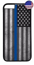 Hard Rubber Case Cover For iPhone 7 6 6s Plus 5 5s 5c 4s Police Blue Line Flag