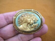 (CM24-47) Girls Two SISTERS twins friends blue + ivory cameo brass PIN Pendant